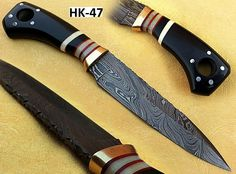 HK-47  Open Length: 11 Inches Blade Length: 6 Inches Handle Length: 5 Inches Price: $95USD Handle made of Bull horn, camel bone, spacers & Brass  FREE SHIPPING