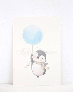 Nursery Paintings, Nursery Art, Pinguin Illustration, Penguin Nursery, Baby Motiv, Pastel Nursery, Baby Wall Art, Cute Penguins, Hand Painted Rocks