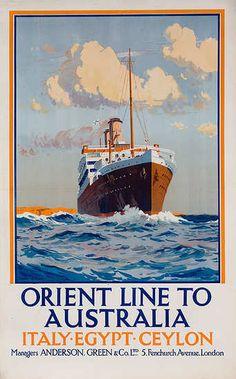 Orient Line to Australia Italy Egypt Ceylon Original Cruise Line ...