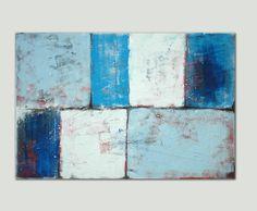 Dans le monde entier livraison gratuite pour grand Schilderij abstraite - LOTS en bleu - peinture acrylique - 31,5 x 47,2 po.-