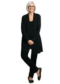 Eileen Fisher - designer of fashion forward comfortable clothes.  This outfit screams Architect/ Designer to me!