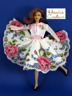 Barbie Dolls : Doll dress made from vintage hankies Handkerchief Crafts, Hankerchief Dress, Inchies, Shabby, Barbie Clothes Patterns, Vintage Handkerchiefs, Sewing Dolls, Little Doll, Barbie Dress