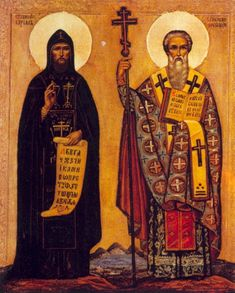 Cyril and Methodius depicted on a Russian icon from 18/19 century