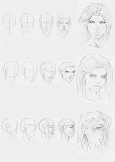 dc character heads draw - Google Search