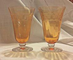 2 Elegant Art Deco Pattern Band Amber Crystal Footed Goblets 1920s Fostoria