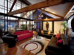 beams, high ceilings and windows