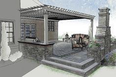 Raised patio and pergola