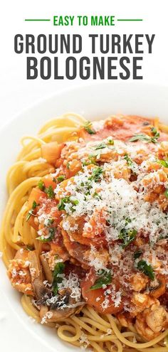 The last bolognese recipe you'll need to make! It's easy to cook, tasty and flavorful (and freezes well too)! Friends and family approved this hearty pasta dish! Easy Turkey Recipes, Yummy Pasta Recipes, Ground Turkey Recipes, Lunch Recipes, Dinner Recipes, Healthy Recipes, Healthy Dinners, Dinner Ideas, Turkey Bolognese