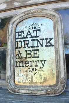 vintage+mirror+turned+festive+kitchen+sign