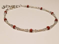 Silver and Genuine Red Jasper Beaded Ankle Bracelet/Czech Glass/Womens Anklet/Silver Anklet/Adjustable Anklet/Gift for Her/Gift under 20 Beaded Jewelry, Beaded Bracelets, Silver Anklets, Red Jasper, Ankle Bracelets, Czech Glass Beads, Gifts For Her, Jewelery, Bead Jewelry