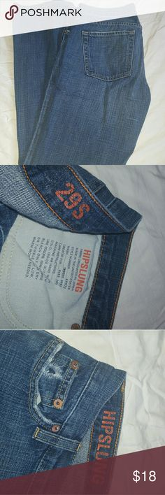 """J crew hipslung jeans 29s lightly worn See photos for hole at pocket and distress at bottom. This is normal and jeans were puchased with these distressed features. They have been worn but are in gkod used condition.inseam 31"""" j crew Jeans Boot Cut"""