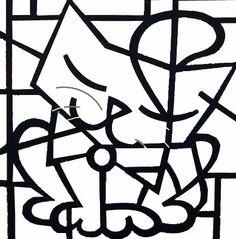 Romero Britto para colorir - Gatinho
