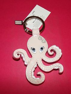 COACH Pink Patent Leather Octopus Key Ring Fob Charm 92920