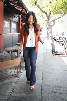 f21c22c9f5cc Cognac Wedges + Rust Cardigan + Bootcut Jeans + Gray Bag + White Blouse Dark  Jeans