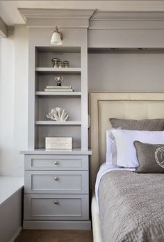 Blue Bedroom With Gray Nightstand Transitional Bedroom Gray