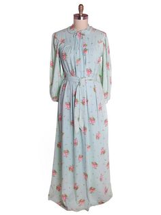 Vintage Blue & Pink Roses Rayon Robe 1940s Neat Belt 44 Bust L-XL
