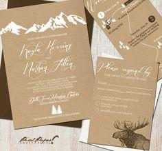 Yosemite Wedding Wedding Invitation Suite: Mountains Colorado Kraft by pixelpaper - Mountain Wedding Invitations, Affordable Wedding Invitations, Rustic Invitations, Wedding Invitation Suite, Wedding Stationary, Invitation Cards, Wedding Suite, Free Wedding Invitation Templates, Invitation Envelopes
