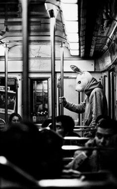 Lone rabbit on the train. Black and white photography adds to the feeling of… Urban Photography, Street Photography, Bizarre, Arte Horror, Animal Heads, Photomontage, Dark Art, Pulp Fiction, Black And White Photography