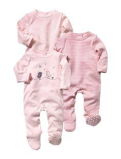 Lot de 3 pyjamas coton assortis bébé fille ROSE PALE - vertbaudet enfant