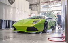 We're kicking the week off with Cats Exotics Verde Ithaca Lamborghini Murciélago that's in for a thorough hand wash!   #carcare #autodetail #handwash #Lamborghini #MurciMonday #exotics #supercars
