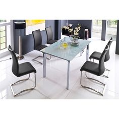 Plato 6 Seater White Dining Table Set With Arco Dining Chairs