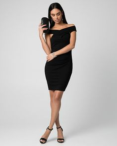 Ponte Off-the-Shoulder Dress - Side pleats provide a flattering fit to a bold ponte dress, while criss-cross bands at the front and back create a graceful off-the-shoulder neckline.