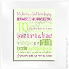 Wedding Vow Typography Wall Art  Personalize with by wmdesigns139