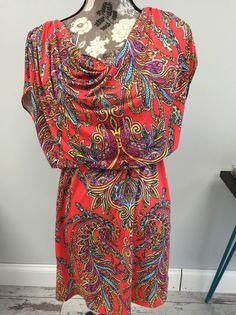 Size 2 9&CO Red Paisley Dress   | eBay