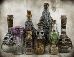 Halloween bottles Pick your poison. Actually, pick two: a spirit to fill one of Orion Oddities's sick hand-sculpted bottles with; and a Lovecraftian beast to guard its contents. The Italian design shop molds the likenesses of Cthulhu and Dagon, or Halloween Prop, Diy Halloween Decorations, Holidays Halloween, Halloween Crafts, Halloween Potion Bottles, Halloween Apothecary, Apothecary Jars, Bottle Art, Bottle Crafts