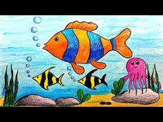 How To Draw Underwater Scenery Step by step learn how to draw this scenery step by step in my drawing tutorial. It is very easy to draw. Fish Drawing For Kids, Scenery Drawing For Kids, Drawing Lessons For Kids, Easy Drawings For Kids, Painting For Kids, Drawing Ideas Kids, Oil Pastel Drawings, Fish Drawings, Disney Drawings
