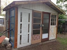 Recycled Door Garden Shedbeautiful junk: Recycled Door Garden Shed shed made from doors Shed Conversion Ideas, Recycled Door, Recycled Garden, Repurposed, Garden Shed Diy, Garden Junk, Garden Art, Pergola, Gardens