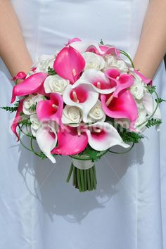 Vibrant White Fresh Touch Rose and Hot Pink Vermeer Calla Lily Bridal Bouquet #artificial #wedding #flowers #bridal #bouquet #calla #lilies #pink #roses