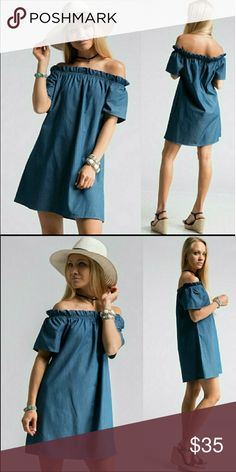 """NWOT Denim Chambray off Shoulder Dress (NWOT) Denim Chambray off Shoulder Dress. Stylish & feminine look, thats very  comfortable. 100% cotton made in USA. Sizing:( S) shoulders 15"""" sleeves 8"""" bust 19"""" length 28""""              (M)shoulders 16"""" sleeves 8"""" bust 20"""" length 28.5""""              (L) shoulders  27"""" sleeves 8"""" bust 21"""" length 29"""" No  Dresses Midi"""