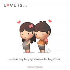 Quotes About Love For Him : QUOTATION - Image : As the quote says - Description HJ-Story :: Love is… sharing happy moments together! Love Cartoon Couple, Cute Love Cartoons, Love Couple, Cute Cartoon, Family Love, Hj Story, Cute Love Stories, Love Story, Fitness Video