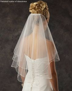 Elbow Length Bridal Veil with Rhinestones - Many Colors!