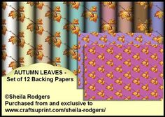 Autumn Leaves Set of 12 Backing Papers on Craftsuprint - Add To Basket!
