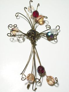 Antique Brass, Copper Wire Cross with Fire-Polished Czech Glass Beads - kjs Cross Jewelry, Wire Jewelry, Beaded Jewelry, Unique Jewelry, Wire Crosses, Crosses Decor, Creative Things, Creative Ideas, Prayer Crafts