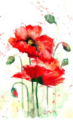 great from each other canvas painting summer, flower painting, painting bedroom, chalked paint, painting rocks ideas. Check out other wonderful examples Watercolor Poppies, Abstract Watercolor, Watercolor Illustration, Poppies Painting, Watercolor Sunflower, Watercolor Ideas, Watercolor Cards, Art Sur Toile, Watercolor Paintings For Beginners