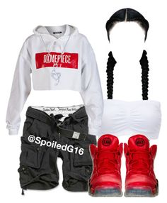 """""""Bad Bxtch But Her Attitude Nasty."""" by spoiledg16 ❤ liked on Polyvore featuring Charlotte Russe, Dimepiece, NIKE and BERRICLE"""