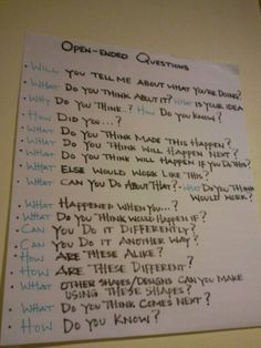 Open ended questions - I need to use these!!