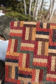 change up the colors and this could be a cute quilt.  Jelly roll!