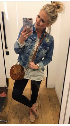 jean jacket outfits Casual outfit with jean jacket, striped shirt, leggings Mode Outfits, Jean Outfits, Casual Outfits, Fashion Outfits, Womens Fashion, Striped Shirt Outfits, Cute Jean Jacket Outfits, Casual Summer Outfits With Jeans, Casual Shopping Outfit