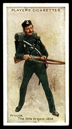 """- The Rifle Brigade-Private, 1854 - Player's Cigarettes, """"Regimental Uniforms"""" (series of 50 with Brown Backs issued in British Army Uniform, British Uniforms, British Soldier, Military Cards, Crimean War, French Army, Old Postcards, Military History, Military Fashion"""