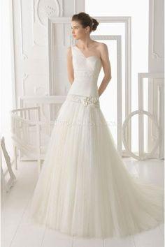 Modern One Shoulder A-line Tulle Bridal Weddin Dresses