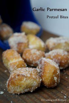 Garlic Parmesan Pretzel Bites.  Perfect little snack or treat to enjoy with friends.