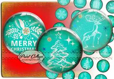 Christmas Cabochon images Digital Printable Sheets by PrintCollage