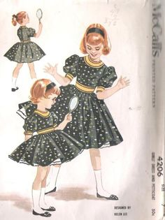 Childrens Sewing Patterns, Vintage Sewing Patterns, Clothing Patterns, Dress Patterns, Little Girl Fashion, Little Girl Dresses, Vintage Dresses, Vintage Outfits, Vintage Street Fashion