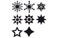 Schneeflocken und Sterne als kostenfreie Schneidedatei von Happyfabric