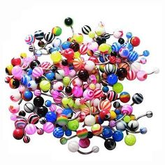 14G Belly Ring Assorted Lot of 100 Belly Button Rings Navel Banana Piercing