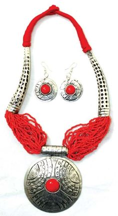 Beaded Breastplate Necklace Set: Red